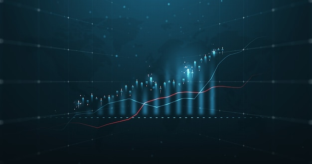 Futuristic market chart of business glowing stock graph or investment financial data profit on growth money diagram background with diagram exchange information. 3d rendering.