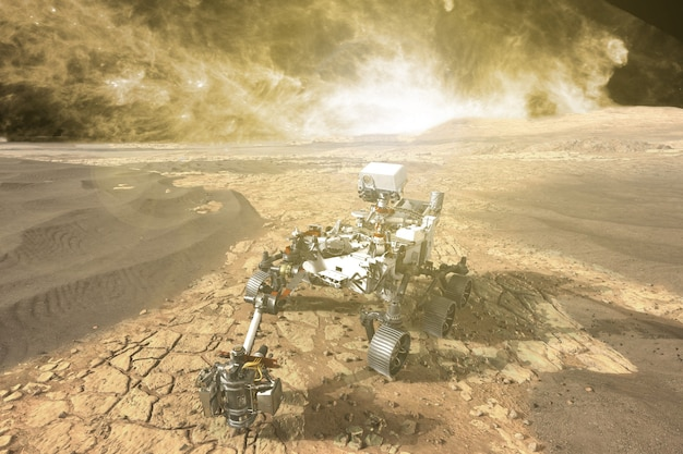Futuristic mars rover exploring vasts of red planet. elements of this image furnished by nasa