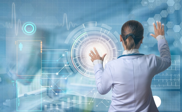Futuristic medical concept modern doctor touching digital screen to see patient information