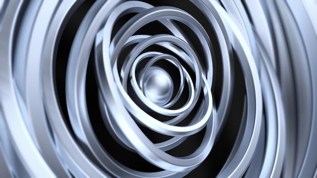 リングと未来的なメタリックブラックの背景。 3dイラスト、3dレンダリング。