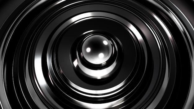 リングと未来的なメタリックブラックの背景。 3dレンダリング。