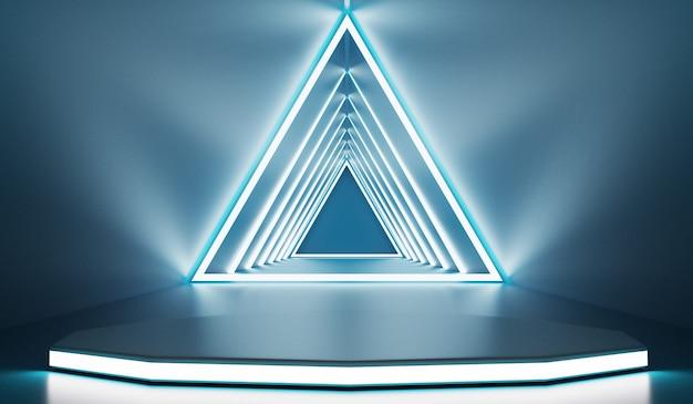 빈 무대와 미래 지향적 인 현대 배경입니다. 미래의 현대적인 인테리어 컨셉. 3d 렌더링.