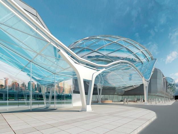 Футуристический современный дизайн мегамолла из стекла и стального купола и волнистой формы. 3d визуализация.