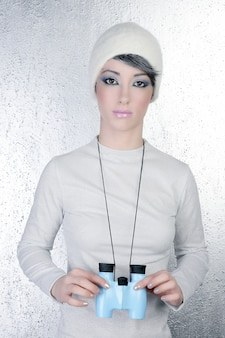 Futuristic modern fashion woman blue binocular
