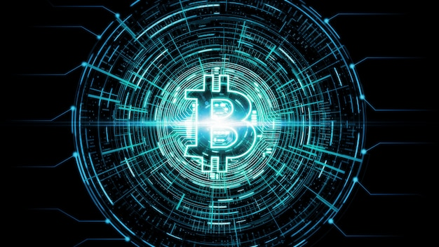 Futuristic modern glowing bitcoin (btc) e