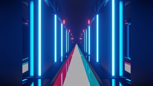 Futuristic neon 3d illustration of corridor with floor of flag of luxembourg in 4k uhd