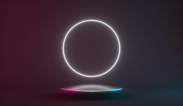 Футуристический неоновый свет продукт фон сцены или пьедестал подиума d визуализации