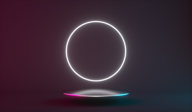 Futuristic neon light product background stage or podium pedestal d render