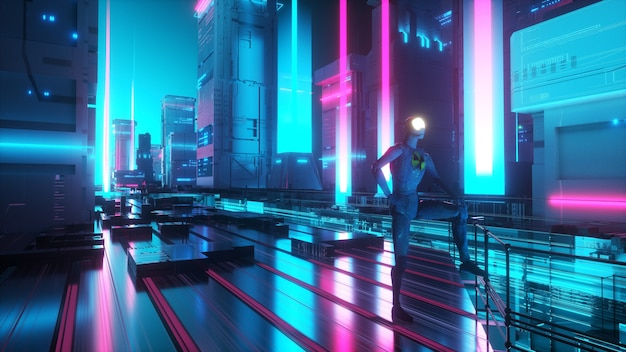 Футуристические неоновые огни города фон