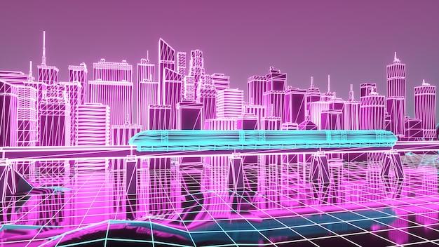 Futuristic neon night city train traffic on the railway bridge