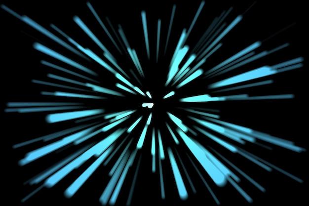 未来的なネオントンネルは、黒い背景空間の3d画像に青い光線を抽象化します。