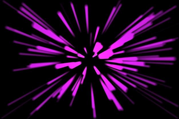 未来的なネオントンネルは、黒い背景空間の3d画像にピンクの光線を抽象化します。