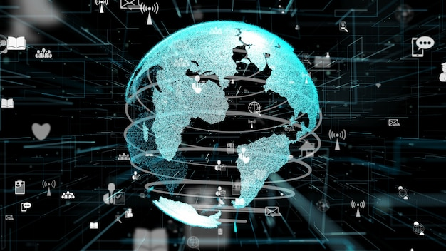 未来的なオンラインインターネットネットワークとモノのインターネットiotコンセプト