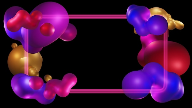 미래 유기 액체 설계. 현대 추상 모양 그라디언트, 그래픽 프레임 배경, 3d 렌더링