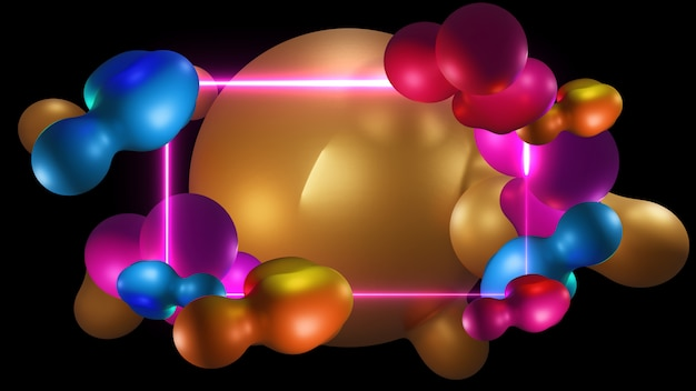 Футуристическая органическая жидкость. современные абстрактные формы градиенты, графика фон рамки, 3d-рендеринг