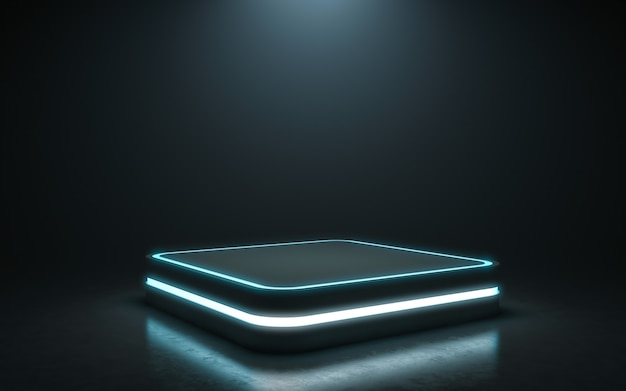 디스플레이를위한 미래형 받침대. 제품에 대한 빈 연단. 3d 렌더링