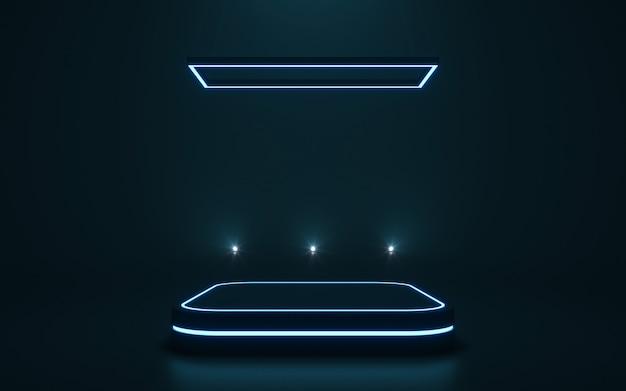 ディスプレイ用の未来的な台座製品の空の表彰台。 3dレンダリング
