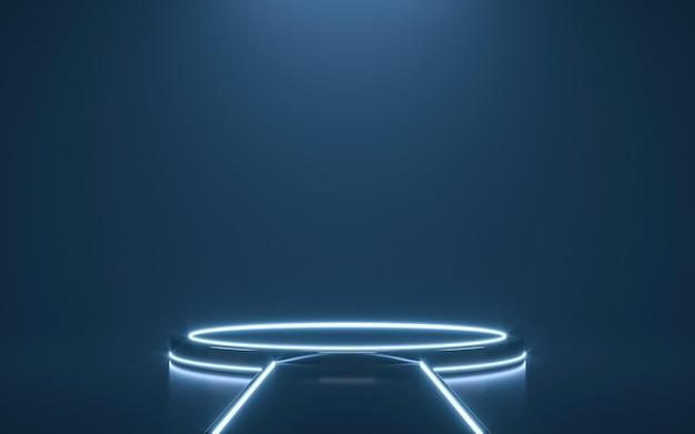 Футуристический постамент для дисплея. пустой подиум для продукта. 3d рендеринг