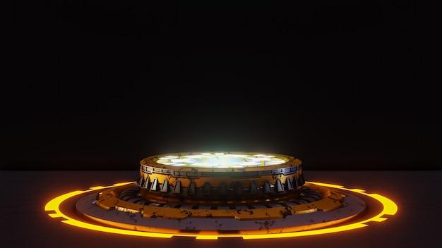 검은 미래에 대한 제품 발표를위한 미래형 받침대.