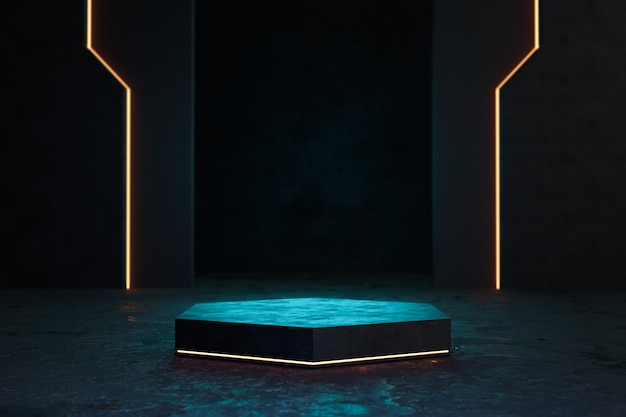 Futuristic pedestal for product presentation, blank product stand