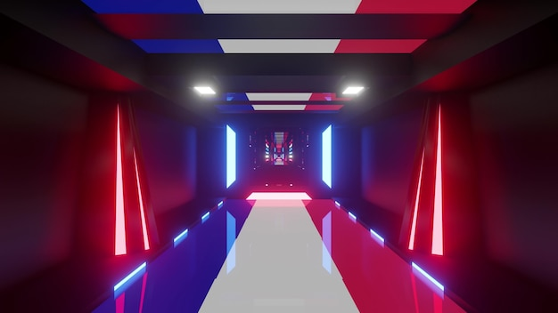 Futuristic perspective 3d illustration of endless geometric corridor with repeating blocks and glowing neon pink and blue lights