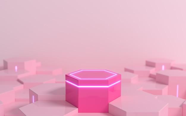 디스플레이 제품 쇼케이스를 위한 보라색 네온 불빛이 있는 미래 지향적인 분홍색 육각형 공상 과학 받침대