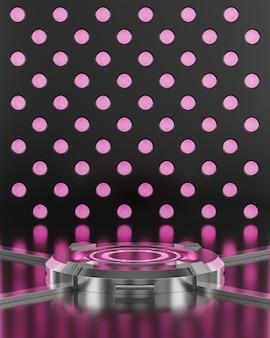 미래의 연단 핑크 네온 빛 공상 과학 배경 3d 렌더링