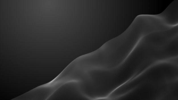 Futuristic point dark black wave animation digital of particles 3d rendering