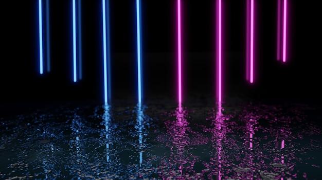 미래의 보라색 파란색 네온 현대 레이저 그런 지 거친 콘크리트 바닥. 어두운 콘크리트 바닥과 연기 배경 질감. 3d 렌더링.