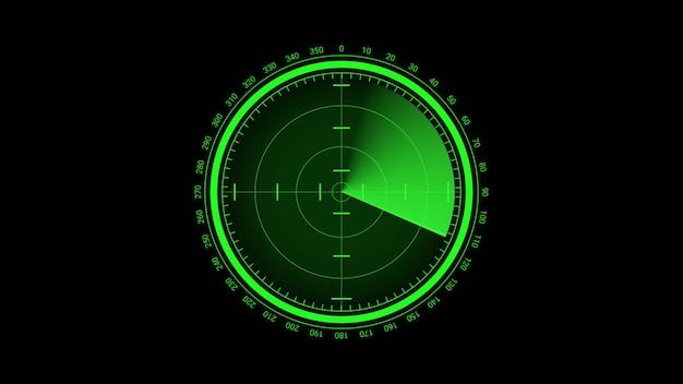 Futuristic radar screen, searching target