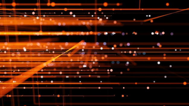 미래의 붉은 오렌지 빛 라인 작은 입자, 추상적 인 배경.