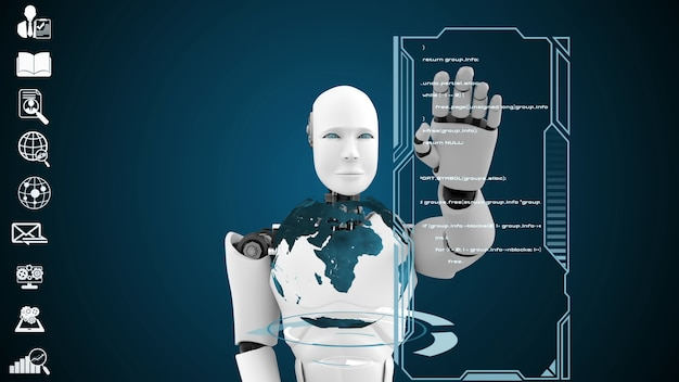 Футуристический робот, искусственный интеллект cgi, анализ и программирование больших данных