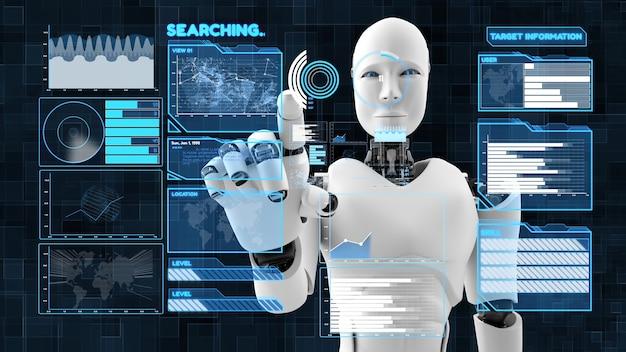Futuristic robot, artificial intelligence cgi big data analytics and programming