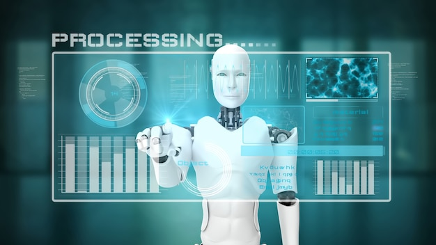Futuristic robot, artificial intelligence cgi big data analytics and programming