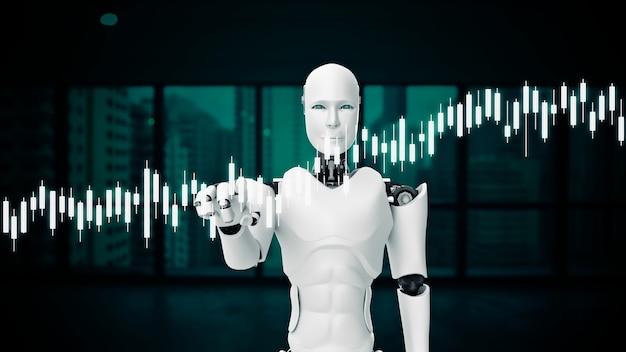 Футуристический робот, искусственный интеллект cgi для торговли на бирже