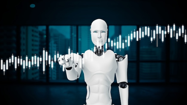 Futuristic robot, artificial intelligence cgi for stock exchange market trading