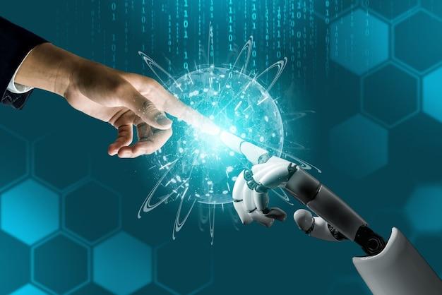 未来的なロボット人工知能の概念。