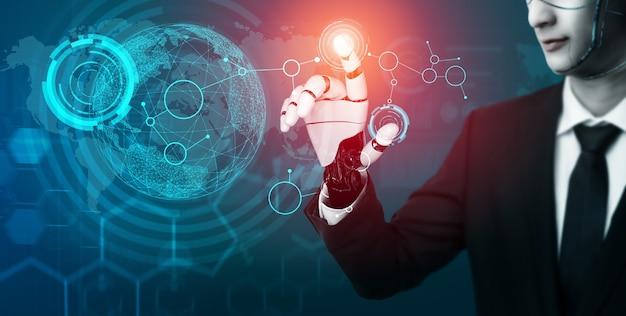 미래 로봇 인공 지능 개념.