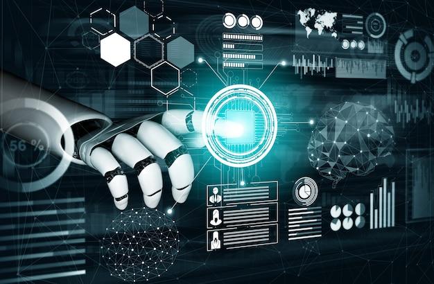 Futuristic robot artificial intelligence concept.