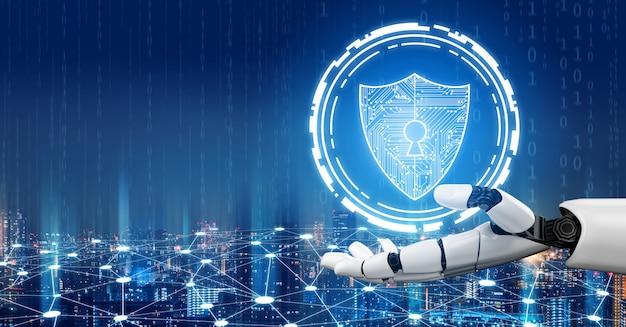 Futuristic robot artificial intelligence concept