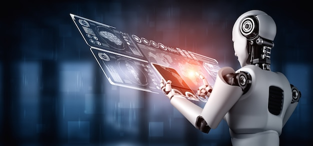 Futuristic robot and data analysis