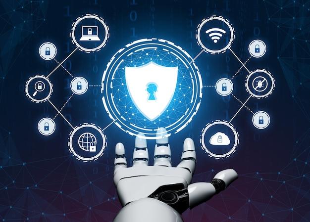 미래형 로봇 기술 개발, 인공 지능 ai 및 기계 학습 개념.