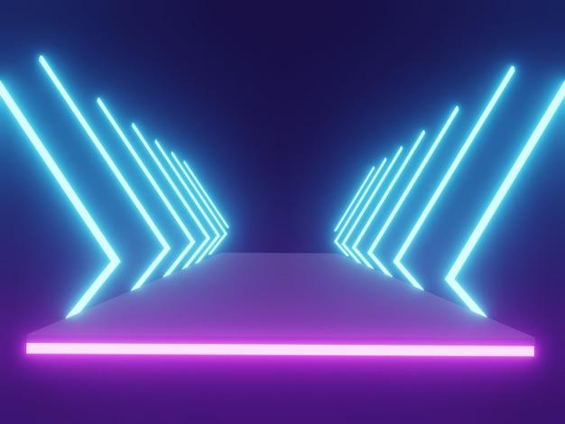 空のスペースで黒の背景に未来的なサイエンスフィクション抽象的な青と紫のネオンライト図形。 3dレンダリング