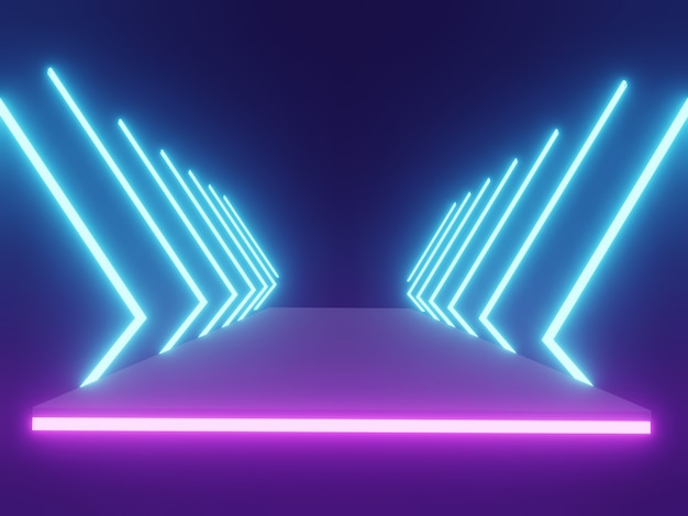 Futuristic sci-fi abstract blue and purple neon light shapes on black background with empty space. 3d rendering