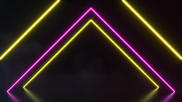 Futuristic sci fi abstract neon light shapes on black background. 3d rendering