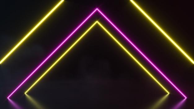 Футуристический sci fi абстрактные формы неонового света на черном фоне. 3d рендеринг