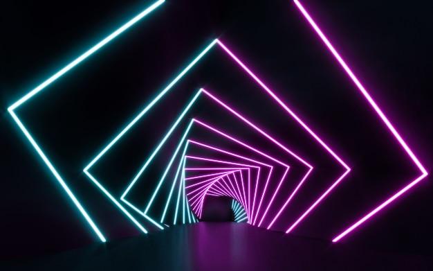 미래의 공상 과학 파란색과 보라색 네온 튜브 조명 빛나는. 3d 렌더링 프리미엄 사진