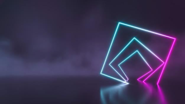 煙の壁で光る未来的なsf青と紫のネオン管ライト。 3dレンダリング