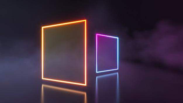 Футуристические синие и фиолетовые неоновые лампы sci fi светятся дымовой стеной. 3d рендеринг