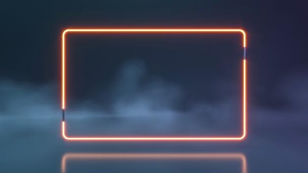 연기 벽으로 빛나는 미래의 공상 과학 파란색과 보라색 네온 튜브 조명. 3d 렌더링